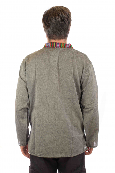 Camasa lejera de bumbac cu maneca lunga- Etno - Gri 2