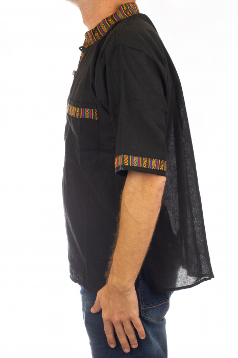 Camasa lejera de vara - Etno - Negru 3