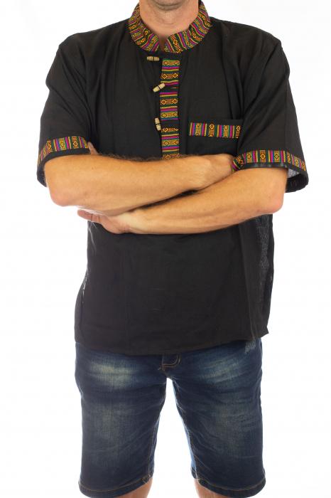 Camasa lejera de vara - Etno - Negru 2