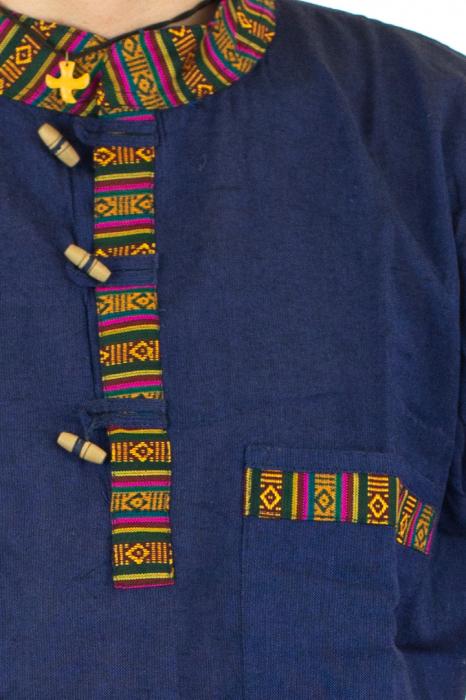 Camasa lejera de vara - Etno - Albastru Inchis 1