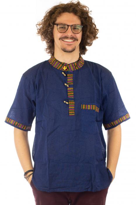Camasa lejera de vara - Etno - Albastru Inchis 0