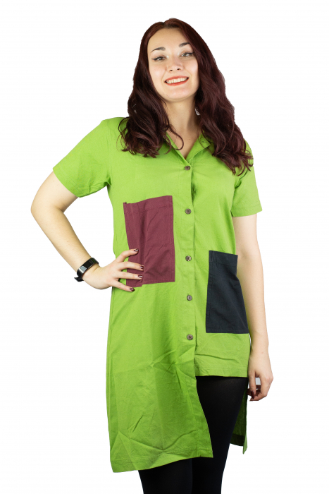Camasa lunga asimetrica - Verde 0