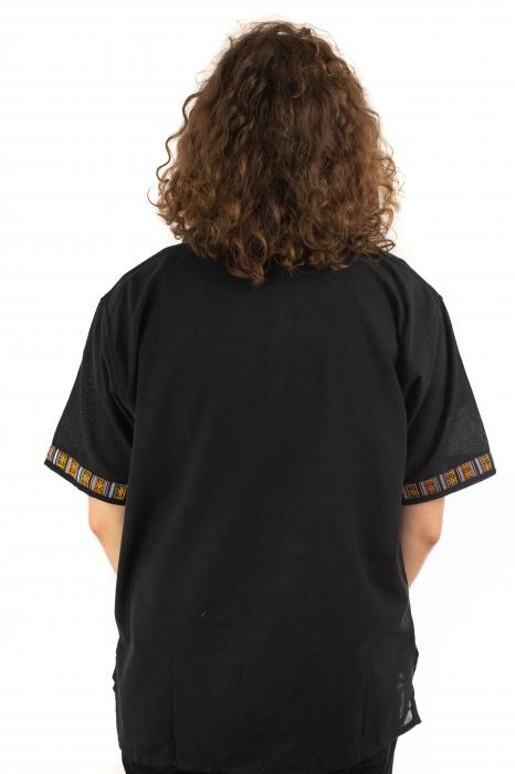 Camasa neagra cu maneca scurta - Motive etno [3]