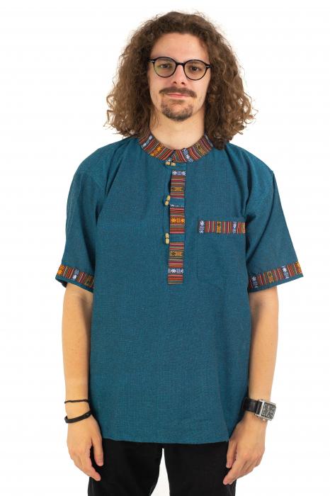 Camasa turcoaz cu maneca scurta - Motive etno [1]