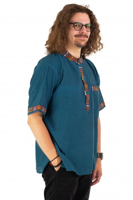 Camasa turcoaz cu maneca scurta - Motive etno [2]