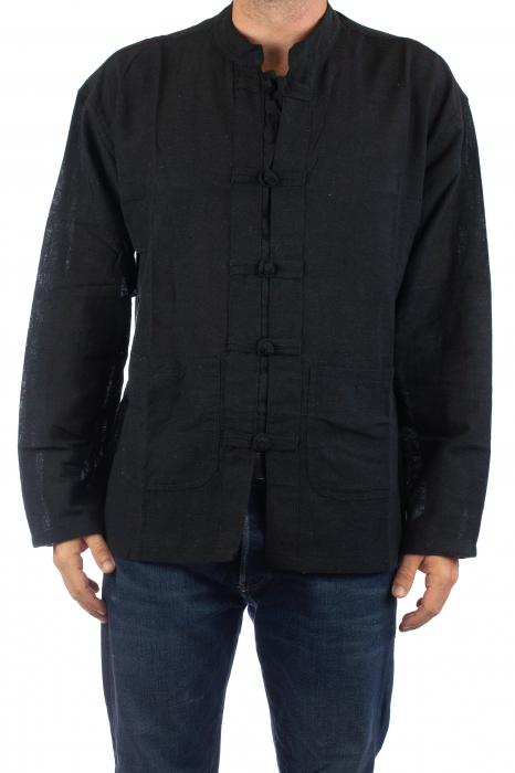 Camasa cu nod chinezesc - Chinese knot shirt - Neagra 0