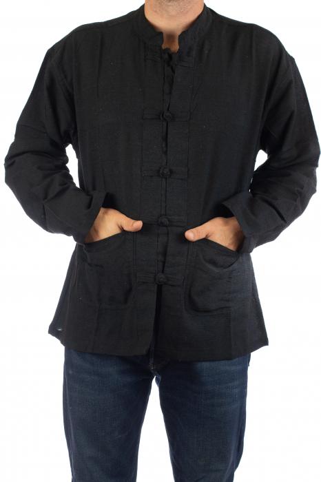 Camasa cu nod chinezesc - Chinese knot shirt - Neagra 1