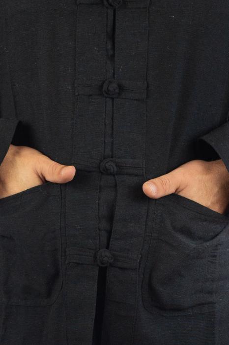 Camasa cu nod chinezesc - Chinese knot shirt - Neagra 2