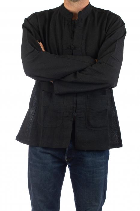 Camasa cu nod chinezesc - Chinese knot shirt - Neagra 3