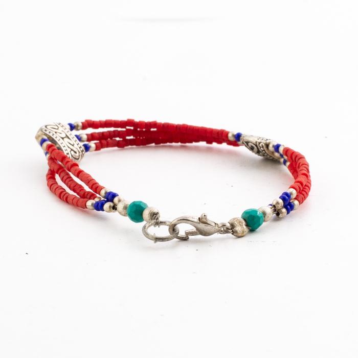 Bratara 3 randuri blue red 1