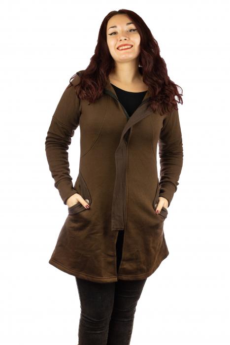 Jacheta femei din bumbac - Maro 0