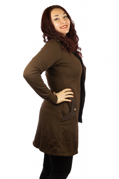Jacheta femei din bumbac - Maro 1