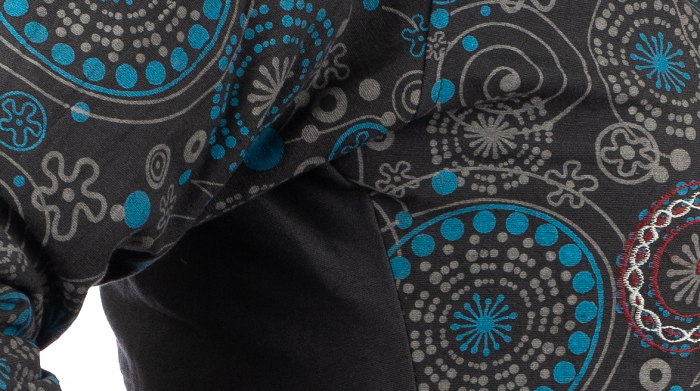 Jacheta de bumbac cu fermoar, print abstract – Negru si Albastru 2