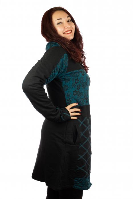 Jacheta femei din bumbac - Teal & Black 2