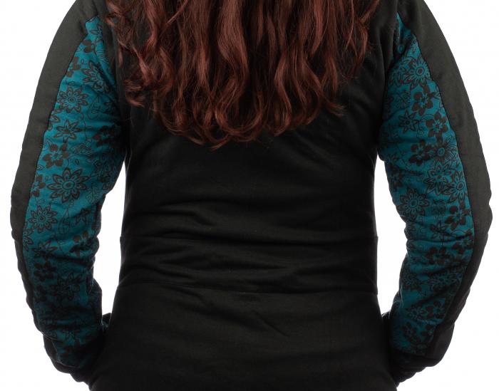 Jacheta femei din bumbac - Teal & Black 5