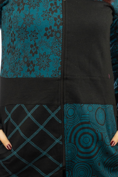 Jacheta femei din bumbac - Teal & Black 1