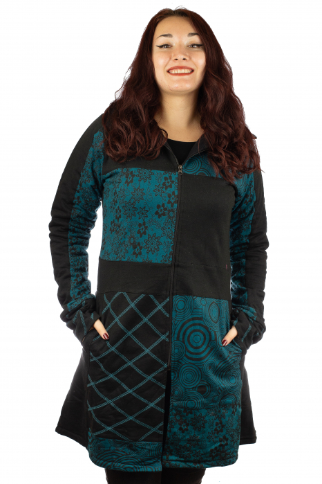 Jacheta femei din bumbac - Teal & Black 0