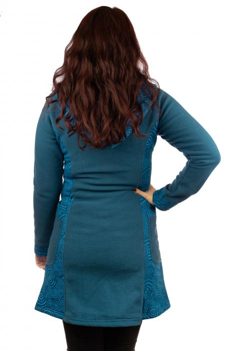 Jacheta femei bumbac si polar albastra 4