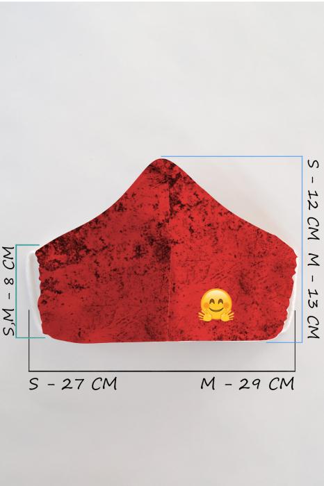 Masca bumbac cu filtru pentru adulti - Smiley Rosu 1
