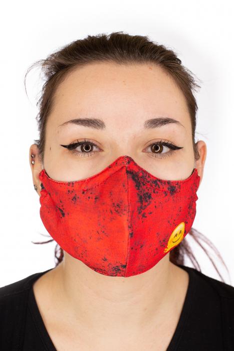 Masca bumbac cu filtru pentru adulti - Smiley Rosu 0
