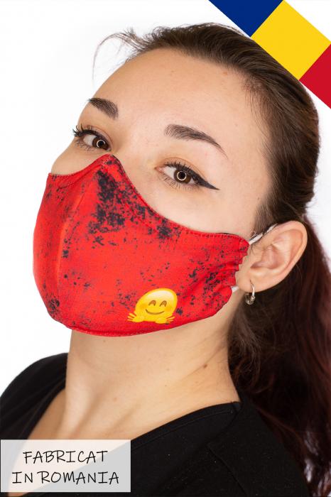Masca bumbac cu filtru pentru adulti - Smiley Rosu 2