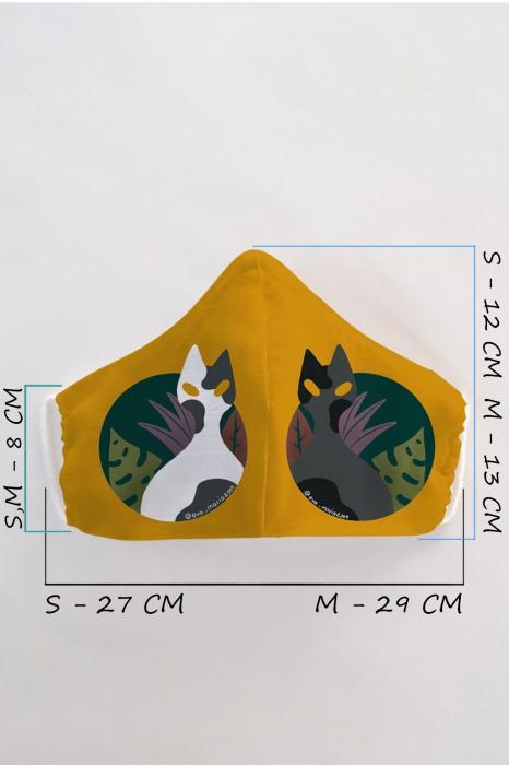 Masca bumbac cu filtru pentru adulti - Cats 1