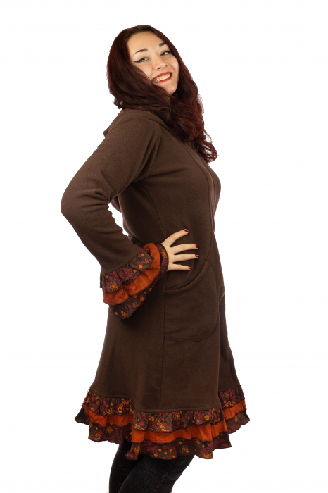 Jacheta femei - Maro cu portocaliu 1