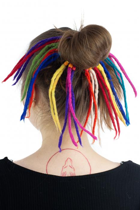 Dreaduri sintetice - Rainbow lung - felt longer hair gom [1]