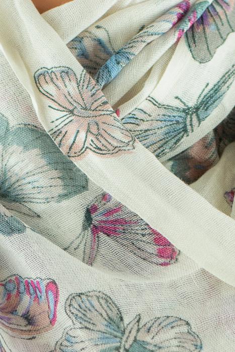 Esarfa subtire colorata - Butterfly - Alb 1