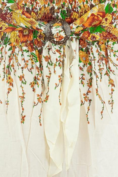 Fusta de vara cu catarama - Floral - Alb 1