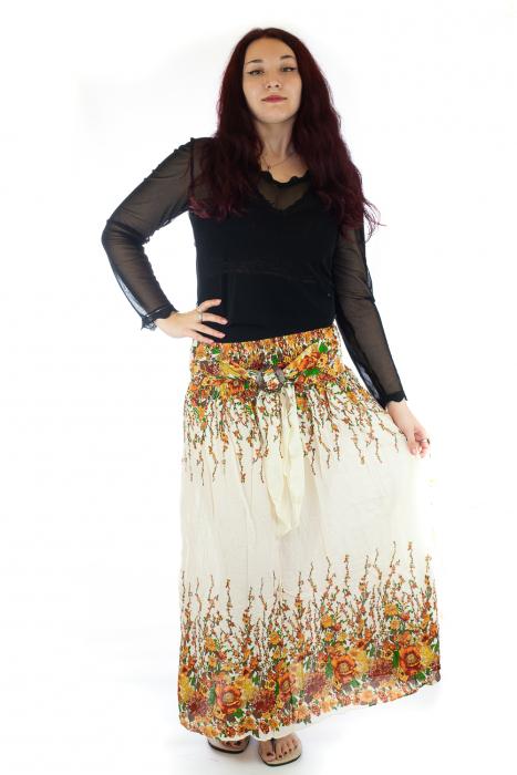 Fusta de vara cu catarama - Floral - Alb 0