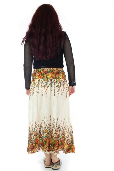 Fusta de vara cu catarama - Floral - Alb 3