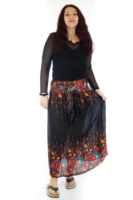 Fusta de vara cu catarama - Floral - Negru [0]
