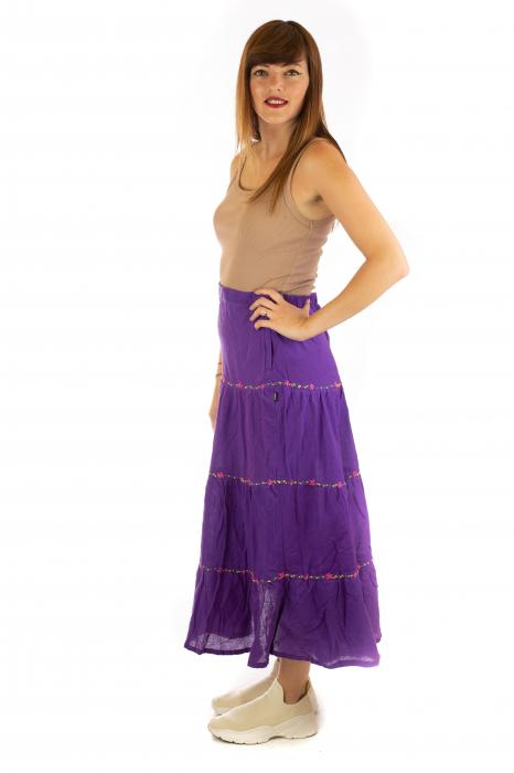 Fusta maxi bumbac 100% - violet 3