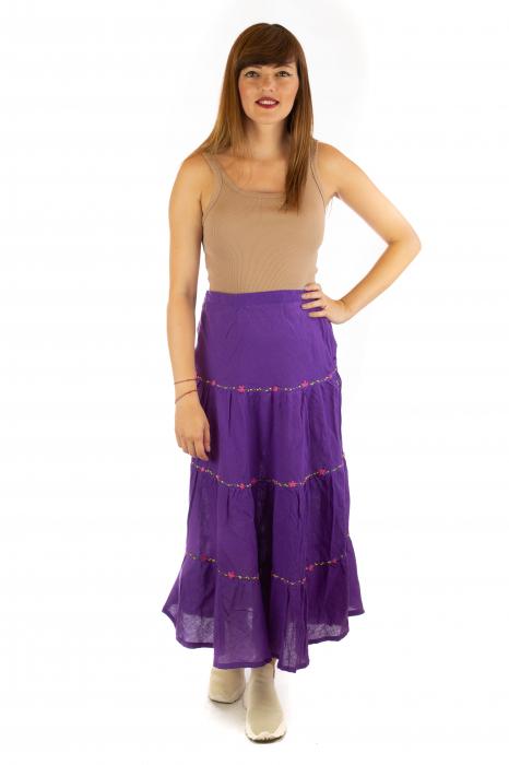Fusta maxi bumbac 100% - violet 2