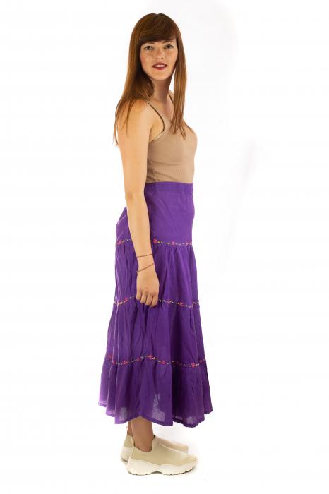 Fusta maxi bumbac 100% - violet 4