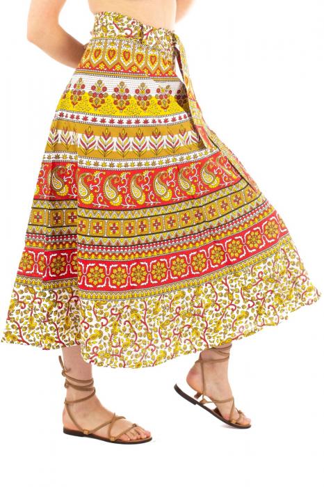 Fusta petrecuta cu cordon multicolora - Motive hinduse [1]