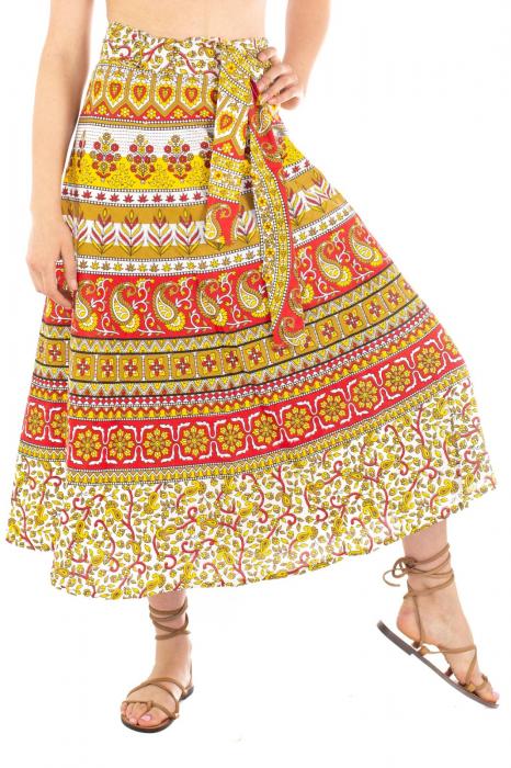 Fusta petrecuta cu cordon multicolora - Motive hinduse [3]
