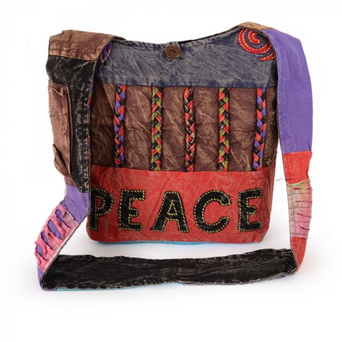 Geanta handmade din bumbac - Peace albastru 0