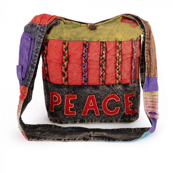 Geanta handmade din bumbac - Peace verde 0