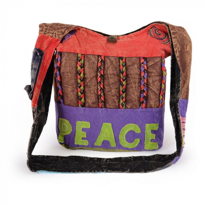 Geanta handmade din bumbac - Peace rosu 0