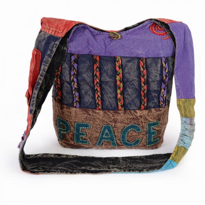 Geanta handmade din bumbac - Peace mov 0