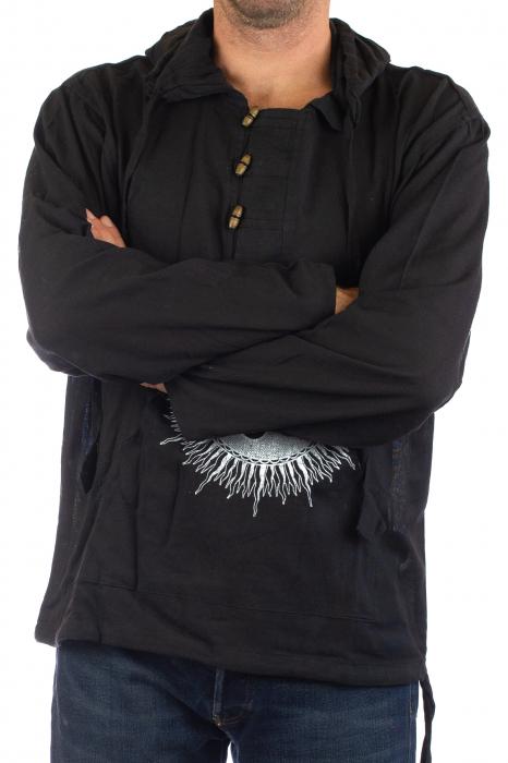 Hanorac cu print - OM - Negru [1]