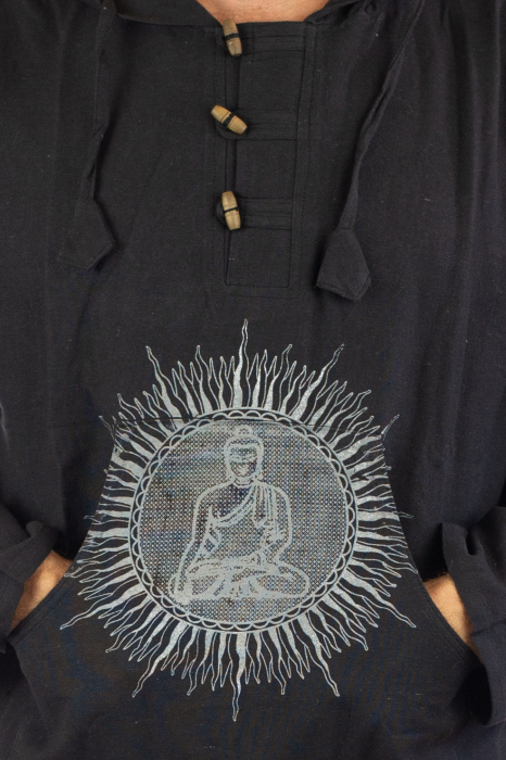 Hanorac cu print - Buddha - Negru [3]