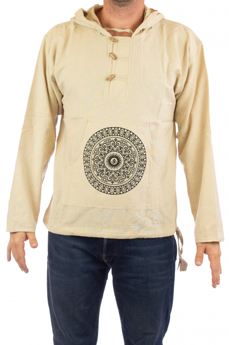 Hanorac cu print - OM Mandala - Alb [0]