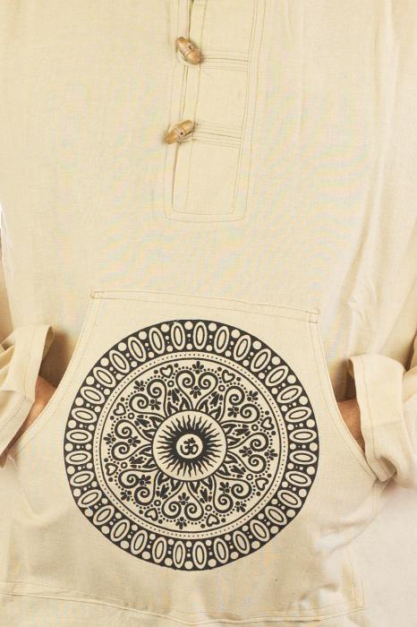 Hanorac cu print - OM Mandala - Alb [1]