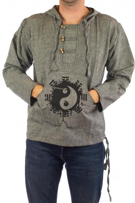 Hanorac cu print - Ying Yang - Gri [2]