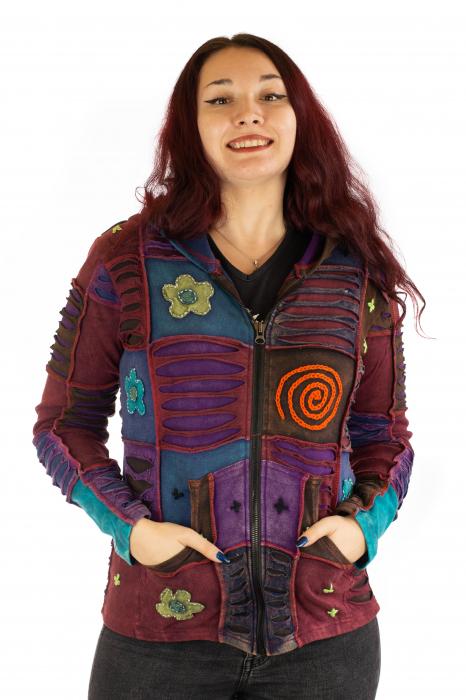 Hanorac din bumbac multicolor cu patch si broderie - Model 4 0