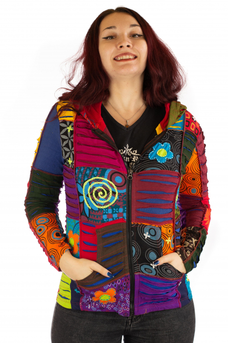 Hanorac din bumbac multicolor cu patch si broderie - Model 7 0