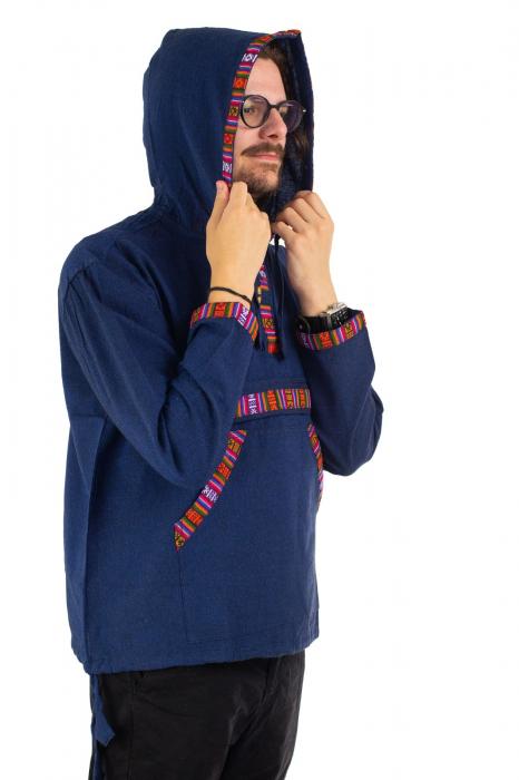 Hanorac ethnic din bumbac subtire - Blue [3]